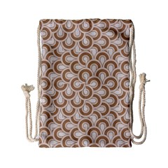 Retro Mirror Pattern Brown Drawstring Bag (small)