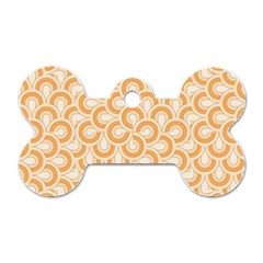 Retro Mirror Pattern Peach Dog Tag Bone (one Side)