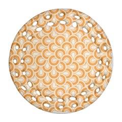 Retro Mirror Pattern Peach Round Filigree Ornament (2Side)