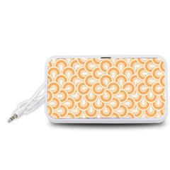 Retro Mirror Pattern Peach Portable Speaker (White)