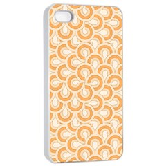 Retro Mirror Pattern Peach Apple Iphone 4/4s Seamless Case (white)