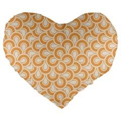 Retro Mirror Pattern Peach Large 19  Premium Flano Heart Shape Cushions