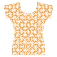 Retro Mirror Pattern Peach Women s Cap Sleeve Top