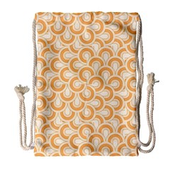Retro Mirror Pattern Peach Drawstring Bag (Large)