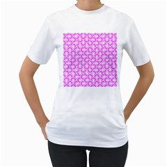 Retro Mirror Pattern Pink Women s T Shirt (white) (two Sided)