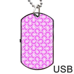 Retro Mirror Pattern Pink Dog Tag USB Flash (One Side)