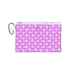Retro Mirror Pattern Pink Canvas Cosmetic Bag (S)