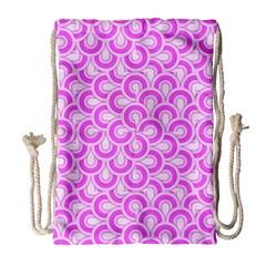 Retro Mirror Pattern Pink Drawstring Bag (Large)