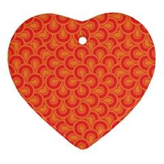 Retro Mirror Pattern Red Ornament (heart)