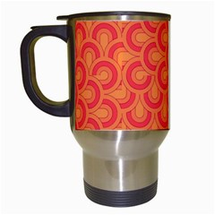 Retro Mirror Pattern Red Travel Mugs (white)