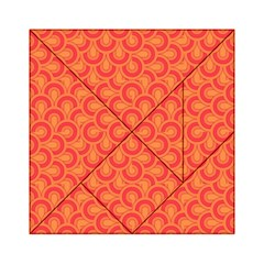 Retro Mirror Pattern Red Acrylic Tangram Puzzle (6  x 6 )