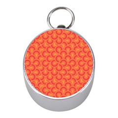 Retro Mirror Pattern Red Mini Silver Compasses