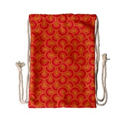 Retro Mirror Pattern Red Drawstring Bag (Small)