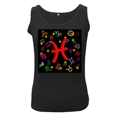 Pisces Floating Zodiac Sign Women s Black Tank Tops