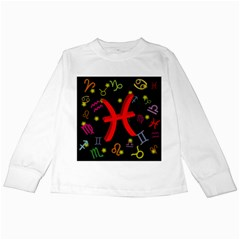 Pisces Floating Zodiac Sign Kids Long Sleeve T Shirts
