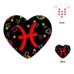 Pisces Floating Zodiac Sign Playing Cards (Heart)