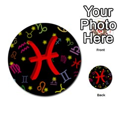 Pisces Floating Zodiac Sign Multi Purpose Cards (round)