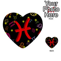 Pisces Floating Zodiac Sign Multi Purpose Cards (heart)