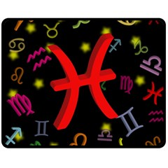Pisces Floating Zodiac Sign Fleece Blanket (Medium)