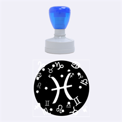 Pisces Floating Zodiac Sign Rubber Round Stamps (Medium)