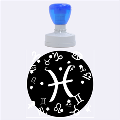 Pisces Floating Zodiac Sign Rubber Round Stamps (Large)