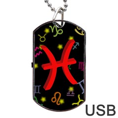 Pisces Floating Zodiac Sign Dog Tag USB Flash (One Side)