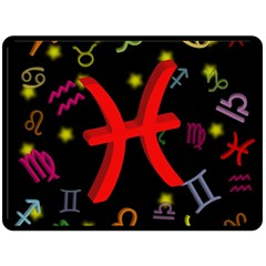 Pisces Floating Zodiac Sign Double Sided Fleece Blanket (Large)
