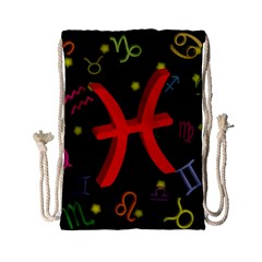 Pisces Floating Zodiac Sign Drawstring Bag (Small)