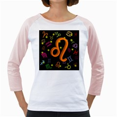 Leo Floating Zodiac Sign Girly Raglans
