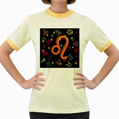 Leo Floating Zodiac Sign Women s Fitted Ringer T-Shirts