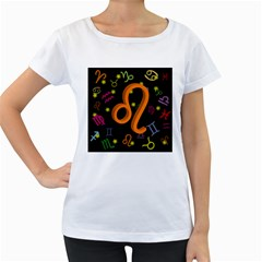 Leo Floating Zodiac Sign Women s Loose-Fit T-Shirt (White)