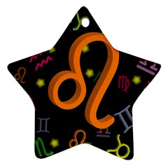 Leo Floating Zodiac Sign Star Ornament (Two Sides)