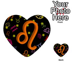 Leo Floating Zodiac Sign Multi-purpose Cards (Heart)