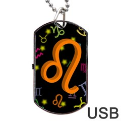 Leo Floating Zodiac Sign Dog Tag USB Flash (Two Sides)