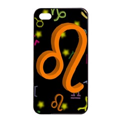 Leo Floating Zodiac Sign Apple Iphone 4/4s Seamless Case (black)