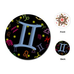 Gemini Floating Zodiac Sign Playing Cards (Round)