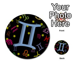 Gemini Floating Zodiac Sign Multi-purpose Cards (Round)