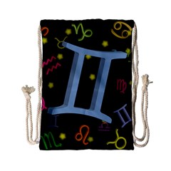 Gemini Floating Zodiac Sign Drawstring Bag (Small)