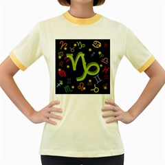 Capricorn Floating Zodiac Sign Women s Fitted Ringer T Shirts