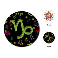 Capricorn Floating Zodiac Sign Playing Cards (Round)