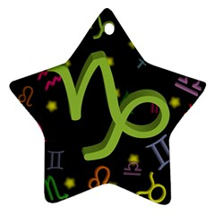 Capricorn Floating Zodiac Sign Star Ornament (Two Sides)