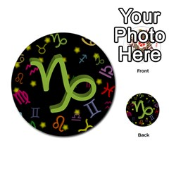 Capricorn Floating Zodiac Sign Multi-purpose Cards (Round)