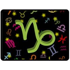 Capricorn Floating Zodiac Sign Fleece Blanket (Large)