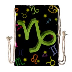 Capricorn Floating Zodiac Sign Drawstring Bag (Large)