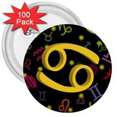 Cancer Floating Zodiac Sign 3  Buttons (100 pack)