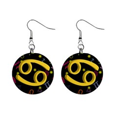 Cancer Floating Zodiac Sign Mini Button Earrings