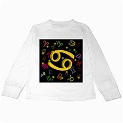 Cancer Floating Zodiac Sign Kids Long Sleeve T Shirts