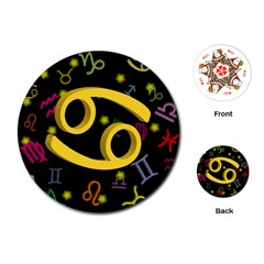 Cancer Floating Zodiac Sign Playing Cards (Round)