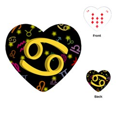 Cancer Floating Zodiac Sign Playing Cards (Heart)