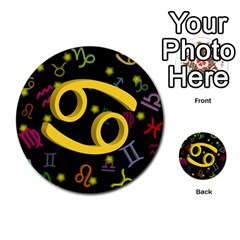 Cancer Floating Zodiac Sign Multi-purpose Cards (Round)